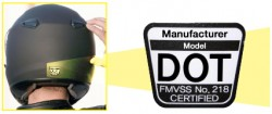 dot label helmet